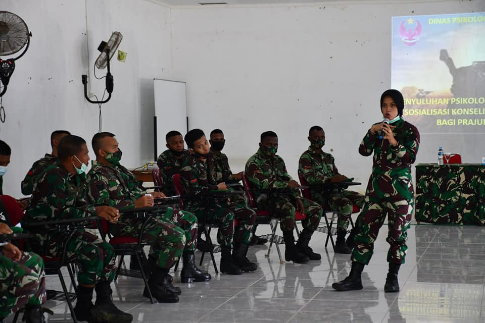 PENYULUHAN PSIKOLOGI DAN SOSIALISASI KONSELING  ELEKTRONIK BAGI PRAJURIT TNI AD TA. 2020 KOREM 181/PVT.